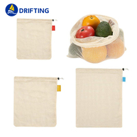 Natural Durable Cotton Mesh Produce Bags